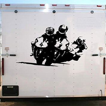 Motorcycle Racing Trailer Decal Vinyl Sticker Auto Decor Graphic Kit Aftermarket Stickers moto00a
