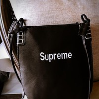 "Hot Sale ""Supreme"" Classics Letter Embroidery Storage Bags Shoulder Messenger Bags File Packet Tote Bag Backpack Make-Up Bag Black"