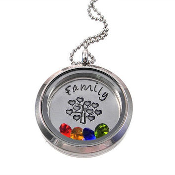 Living Locket / Family Tree of Life Necklace / Floating Locket
