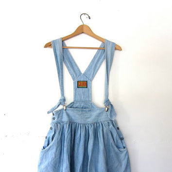 vintage 80s Denim Suspenders Dress. Light Wash Jean Skirt. Long Denim Skirt. Bohemian Cowgirl. Jean Suspenders. Denim Romper. Bib Dress.