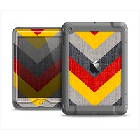 The Scratched Yellow & Red Accented Chevron Pattern V3 Apple iPad Mini LifeProof Nuud Case Skin Set
