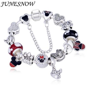 Charms Animal Mouse Crown Charm Bracelets For Women Fashion Original DIY Mickey Beads Fit Pandora Bracelet for women
