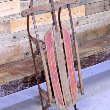 Vintage Wood And Metal Sled, ROYAL RACER Sled, Holiday Sled Decor, Old Wood Childrens Sled