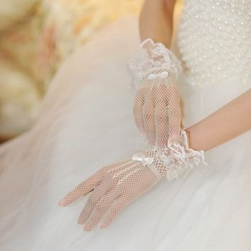 High Quality Sexy Women Evening Party Prom Costume Lace Gloves Solid Color Fashion Hollow out Ladies Glove