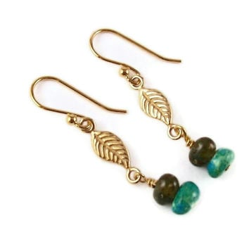 Gold plated leaf and green Swirl glass Earrings Fantasy Woods Fairy Elf Nature