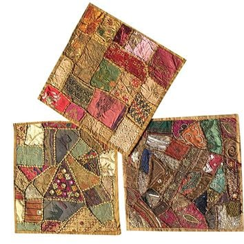 Set of 3 Pcs Vintage Indian Cushion cover-Home Furnishing Cushion Covers Size 16 X 16 Inches: Amazon.ca: Home & Kitchen