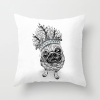 Indian Pug Throw Pillow by LouJah