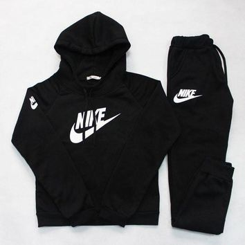 Nike:Sleeve Shirt Sweater Pants Sweatpants Set Two-Piece Sportswear-2