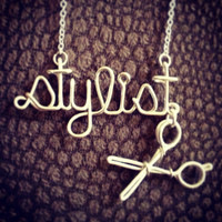 Hair stylist or name and sheers necklace by QueenCityConceptions