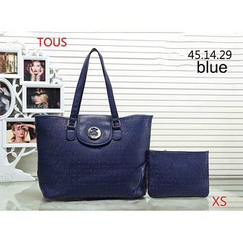 TOUS 2018 Women Fashion Trendy New Two-piece Messenger Bag Handbags F-XS-PJ-BB blue