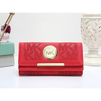 MK Newest Popular Women Shopping Bag Leather Wallet Purse Red