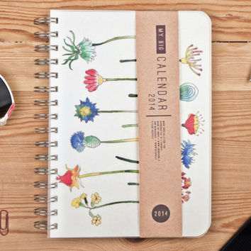 2014 Weekly Planner Calendar Diary Day Spiral A5 Floral Flower This Day Planner - Great Valentine's Day Gift Idea