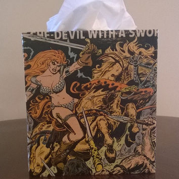 Red Sonja superhero comic book decoupage tissue box cover