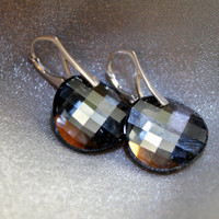Classic Black Silver Earrings, Silver Night Swarovski Crystal, Dangle Earrings for Women, perfect gift idea