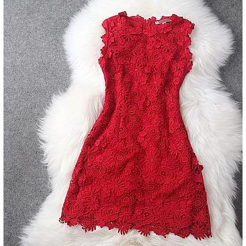 One-nice™ HOT RED BLACK LACE DRESS