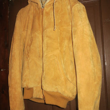 Vintage Chess King suede leather  hooded bomber jacket /   brown genuine leather   faux FUR  lining sz    40