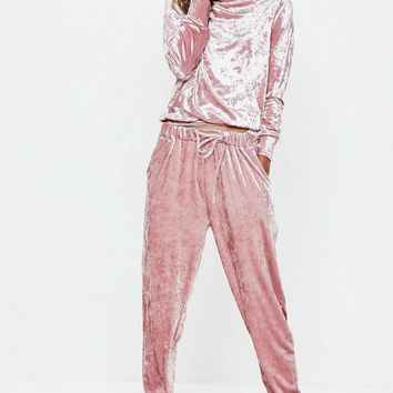 Missguided - Pink Velvet Loungewear Tracksuit