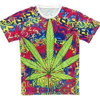 Trippy Psychedelic Weed Leaf Print T-Shirt