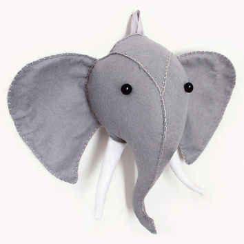 Elephant Head Sewing Pattern, Plush Felt Faux Taxidermy, Wall Decor, Animal Sewing Tutorial, PDF Digital Download