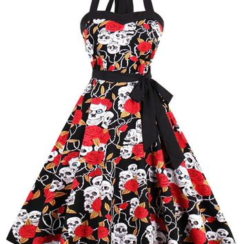 Atomic 1950's Skull  Halter Swing Dress