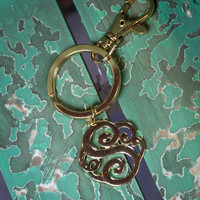 Initial S Keychain in Gold