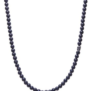 Men's Beaded Necklace with Matte Onyx and Silver Skull