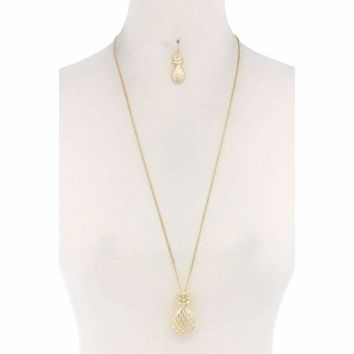Hammered Pineapple Pendant Multi Cord Necklace And Earring Set