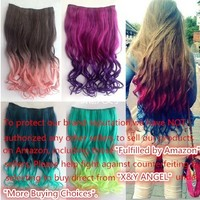 X&Y ANGEL- New Two Tone One Piece Long Curl/curly/wavy Synthetic Thick Hair Extensions Clip-on Hairpieces 16 Colors (18H613)