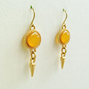 Gold Earrings with Gold Spike Charms, Honey Gold Earrings, Honey Orange Earrings, Yellow Earrings, Hypoallergenic, Resin Jewelry For Her