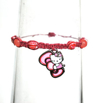 Pink Hello Kitty Pendant Beaded Hemp Bracelet