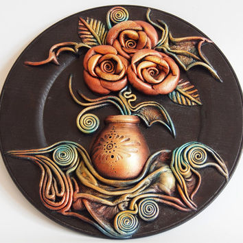 3D Hand-Painted Leather Wall Art Decor, Wooden Plate, Hand Painted Ceramic Vase, Leather Roses, Leather Leaves, Unique Gift