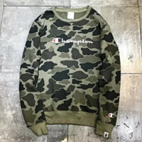 Champion & Bape Aape Fashion New Bust Letter Print And Back Print Camouflage Couple Long Sleeve Top Sweater Black