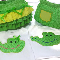 Twin  Boy and Girl Outfit, Twin Baby Clothes, Twin Crocodile Outfits, Boy and Girl Twin Outfits, Crocodiles for Twin Babies, 9 Month Twin
