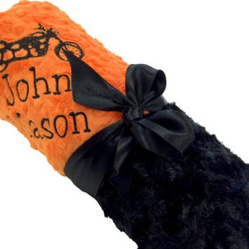 Personalized Baby Blanket Harley Inspired Black Swirl Minky with Orange Dot Minky Back over 35 fonts to choose fro