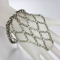 silver chain hand bracelet ring