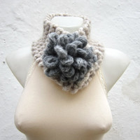 Removeable Brooch Pin -Cowl- Hand Knitted Neck Warmer  - Women  Winter  Accessories Cream  Grey