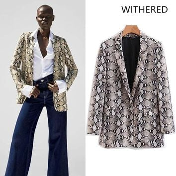 Withered 2018 casaco feminino blazers england style print serpentine snake skin  women bomber blazers jacket plus size tops 0911