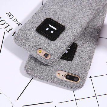Fashion DIY 3D Cartoon Face Case For iphone 7 6 6S Plus Cover Luxury Warm Fuzzy flannel Hard PC Phone Cases Shell Capa Coque New