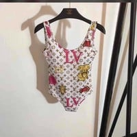 shosouvenir LV Louis Vuitton Women Fashion Backless Print One Piece Swimwear Bikini Swimsuit