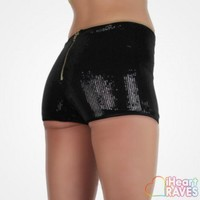 Sequin High Waisted Shorts - Black