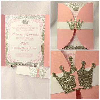 Pink/Blue and Gold Prince or Princess Invitations