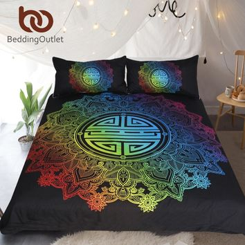 BeddingOutlet Mandala Bedding Set Rainbow Colorful Duvet Cover Floral Bohemian Chinese Blessing Bedclothes for Wedding 3-Piece