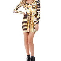 Pharaoh Print Long Sleeve Bodycon Mini Dress