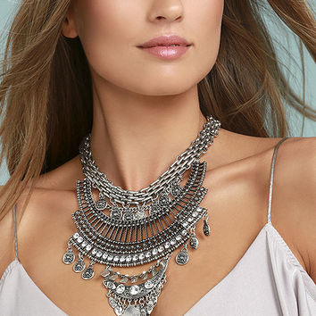 Sure Allure Silver Rhinestone Statement Necklace
