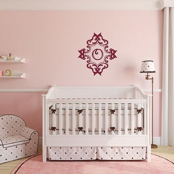 Nursery Monogram Damask Frame Style C Vinyl Wall Decal 22510