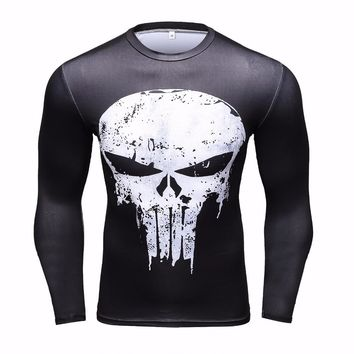 09681ad2d386 Punisher 3D Printed T-shirts Men Compression Shirts Long Sleeve