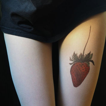 strawberry, strawberry tattoo, tights, tattoo tights