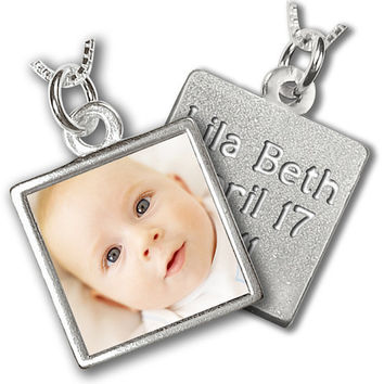 """Birth Announcement Necklace - Custom Photo and Engraved Message Necklace for a New Mom - Medium Size (3/4"""")"""