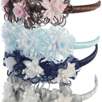 Tulle Flowers and Ribbons on a Satin Wrapped Headband in 24 Color Choices (Girls)