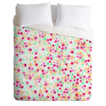 Joy Laforme Sun Faded Floral Pink Duvet Cover